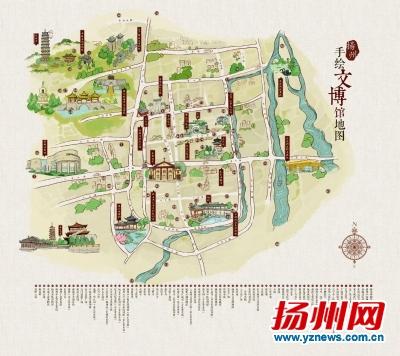 最萌扬州手绘文博地图出炉80多个文博景点一目了然